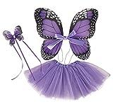P'TIT CLOWN-Set de Papillon-Violet-Tutu + Ailes + Baguette, Womens, 80240, Taille Unique