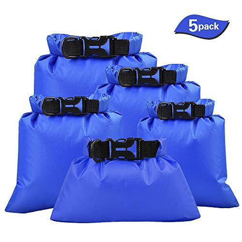 Lixada 5 Stück Outdoor wasserdichte Aufbewahrungsbeutel Packsäcke,für Camping Bootfahren Smartphone Kamera Aufbewahrungsbeutel für treibenden Wassersport,(1,5 L + 2,5 L + 3,0 L+3,5L+5,0L) (Blau)