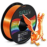 SUNLU Silk PLA Filament 1.75mm, 3D Printer Filament Silk, Silky Shiny Filament PLA for 3D Printers and Pens, 1kg(2.2Lbs)/Spool, Silk Orange