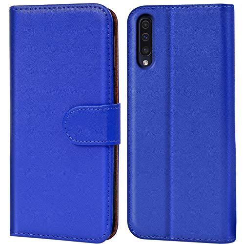 Verco Galaxy A50 Hülle, Handyhülle für Samsung Galaxy A50 Tasche PU Leder Flip Case Brieftasche - Blau Samsung Blau Case