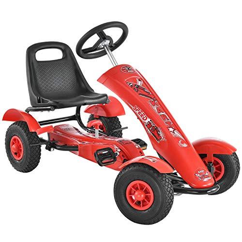 ArtSport 1-Sitzer Gokart im Racing-Design mit Schalensitz, Luftreifen, Stahlfelgen & Freilauf | rot | Kinder Tretauto Kinderfahrzeug