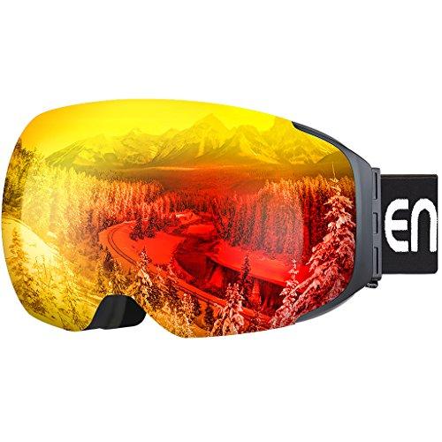 Enkeeo Skibrillen Snowboardbrille Abnehmbare Dual-Layer Anti-Fog Linse 100% UV400 Schutz, Bendable Frame, Anti-Rutsch-Gurt mit Komfort, Wind-beständig 3 Ebenen Schaum für Erwachsene Snowboarding Skating (Gelb) (Orange)