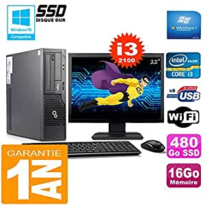 """Fujitsu PC Esprimo e500 E85+ SFF I3-2100 16 GB Scheibe 480Go SSD Wifi W7 Bildschirm 22"""""""