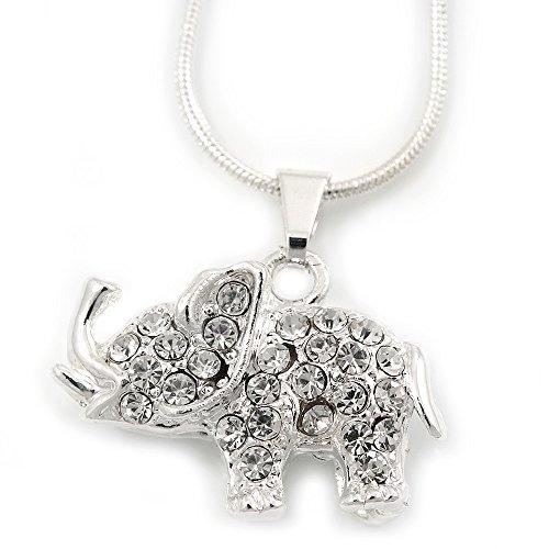 Brillantes, bañado en plata,'Elefant', colgante en cadena, longitud 40 cm