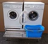 Premium Waschmaschinen Untergestell Mara 2 Premium + mit 1 breitem,durchgehendem Teleskop-Auszug für Wäschekörbe / 50 cm hoch / Verstärkte Aluminium - Ausführung / Teleskop-Auszug rappelfrei / / rostfrei / Unterbau für 2 Maschinen Trockner und Waschmaschine