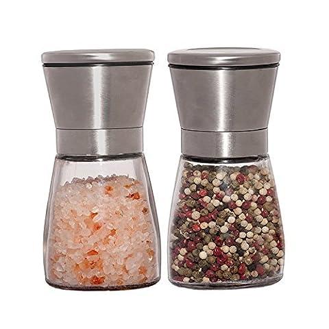 UTRO Elegant Stainless Steel Salt and Pepper Grinder Set avec