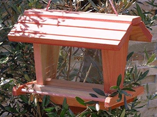 Mangiatoia per uccelli BTV-X-rot001grande batovi, trattati rosso lachsrot ES uccello casette, PREMIUM voliera con grande 3d Silo, nido per uccellini, in legno, con 2vetri per fodera barattolo, come complemento per Meise cassetta o per insetti Hotel, uccello fodera casa, per uccelli, da appendere e da appoggiare