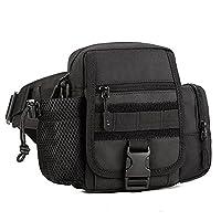 Huntvp Tactical Waist Bag 2 Way Fanny Pack Bumbag Waterproof Crossbody Messenger Bags for Running Outdoors Sports Black