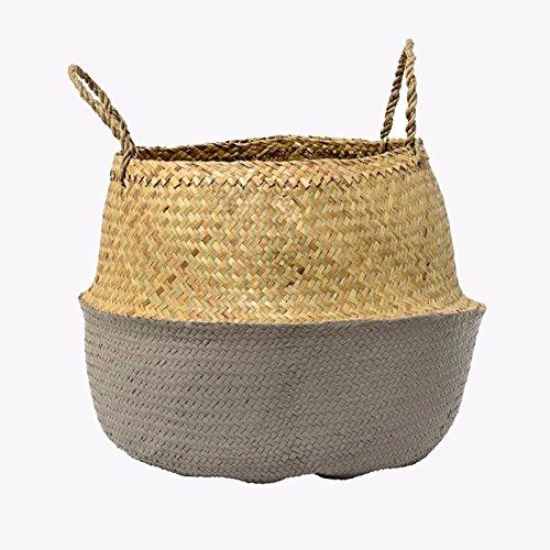 Dip Dye Seagrass Belly Korb mit Griffe Magazin Lagerung Strand Einkaufstasche - Grau (Dip Dye-trend)