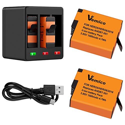 Vemico Ersatz für Gopro Akku Ladegerät Hero 7/6/5 Black Hero 2018 2 Teilige Wiederaufladbare Batterien (1500 mAh) und 3 Kanal Ladebox Typ-C USB Batteriepack mit Deckel Kompatibel mit Go Pro Action Cam (Cam-akku)