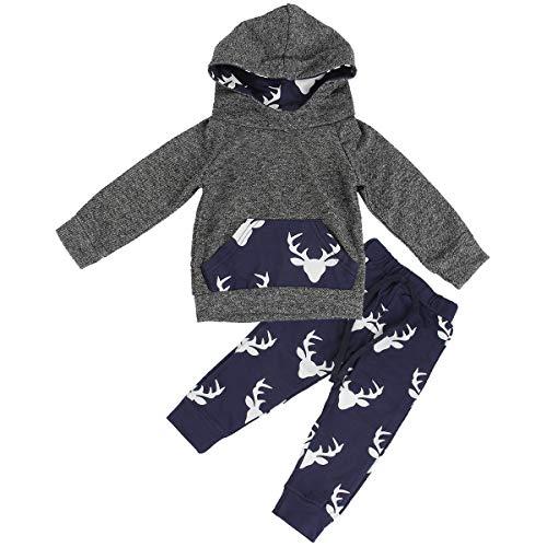 HaiQianXin 2 STÜCKE Infant Kleinkind Baby Elch Hirsche Mit Kapuze Hemd Tops & Hosen Kostüm Kleidung (Size : 1-2T) (4 Stück Kapuzen Kostüm)