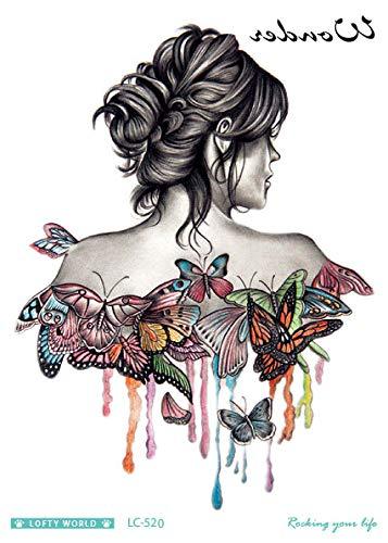 HXMAN 5pcs 21 * 15cm Große Große Arm Zurück Körper Tattoo Aufkleber Sexy Mädchen Frau Tattoo Designs Temporäre Tattoo Neue Ankunft 2016 Mode LC520