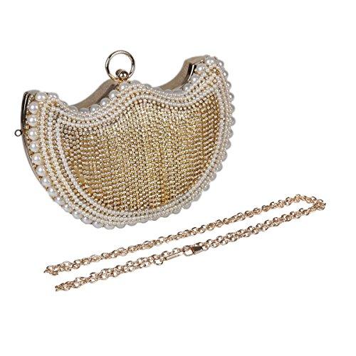 Damara® Ring Henkel Perlen Besatz Damen Eigenartig Abendtasche Silber