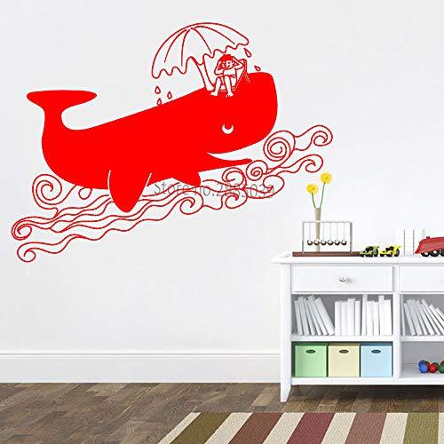 Preisvergleich Produktbild zhuziji Happy Vacation Big Whale Vinyl Aufkleber Relaxing Whale Large Murals Wandaufkleber Cute Kids Schlafzimmer Dekor Adesivo De Parede 888-4 M 99cm x 56cm