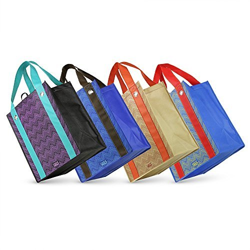 aztec-graphic-print-grommet-reinforced-reusable-grocery-tote-bags-set-of-4-by-simply-green-solutions