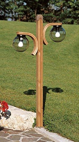 Lampione per esterno h 130 cm a 2 luci supporto in - Sfere illuminazione giardino ...
