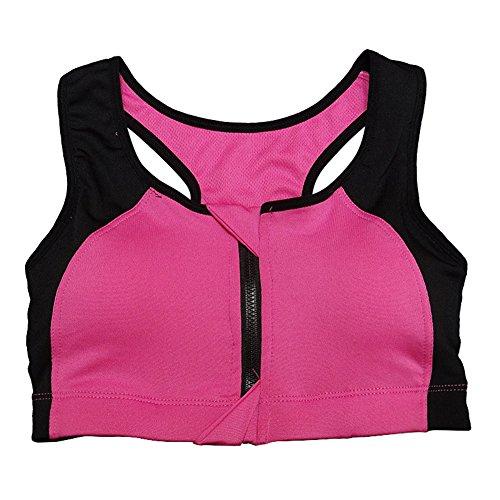 Ming Soutiens gorge de sport Débardeurs Sportswear Bicolore Stylé Sans Armature Amovible Elastics sèche Pour Exercices Fitness Femme Rose