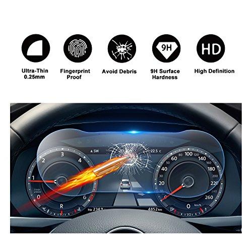 RUIYA Protector de pantalla templado de vidrio templado para (2017) (2018) Volkswagen Tiguan II GTE Allspace, Tablero de instrumentos, cubiertas de panel de instrumentos, película protectora, protector invisible, lámina transparente, protector de pantalla transparente Crystal HD, protección ocular [12.3 pulgadas]