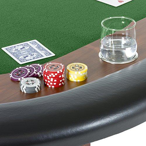 Maxstore Pokertisch ROYAL Flush, 213 x 106 x75 cm, Farbwahl, Gewicht 58kg, 9 Getränkehalter, gepolsterte Armauflage - 6