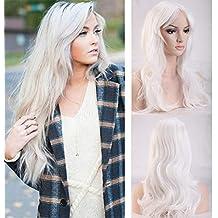 Peluca Blanca Mujer Larga Rizada con Flequillo Pelo Se Ve Natural Pelucas Sintéticas para Cosplay Disfraz