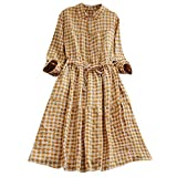 TIMEMEAN Frauen-Button-Down-Kleid Damen Plaid Tunika Kleid Langarm-Shirt-Kleid