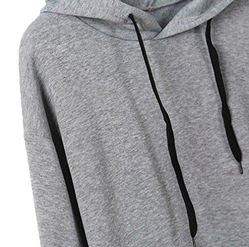 Printemps et Automne Femmes Casual Moderne Hoodie Sweat-shirts à Manches Longues Sweats à Capuche Sweatshirt Pulls Pullover Tops Blouse Gris