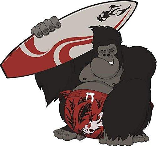 Surfer Aufkleber Sticker Autoaufkleber Gorilla AFFE Surfbrett Fun Lustig