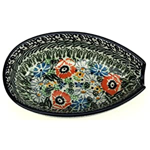 Ceramika Artystyczna Polish Hand Painted Spoon Rest (Daisies and Butterflies)