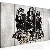 Runa Art Bilder Street Art Affen Wandbild 200 x 80 cm Vlies Leinwand Bild XXL Format Wandbilder Wohnzimmer Wohnung Deko  Duke of Lancaster UK Fertig zum Aufhängen 303455b