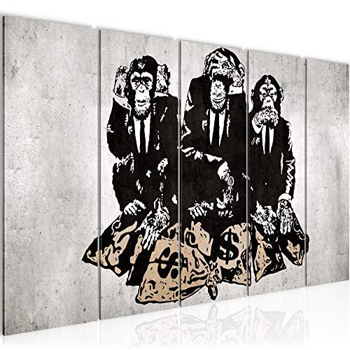 Bilder Banksy Street Art Affen Wandbild 200 x 80 cm Vlies Leinwand Bild XXL Format Wandbilder Wohnzimmer Wohnung Deko Kunstdrucke MADE IN GERMANY Fertig zum Aufhängen 303455b - Bilder