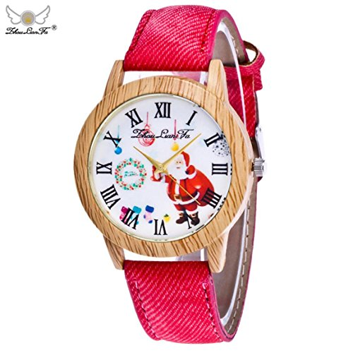 Weihnachtsuhren,Moonuy Mode & Casual Weihnachtsmann Uhren Ältere Muster Holzmaserung Denim Band Analog Quarz Vogue Uhren in 9 Farben (G)