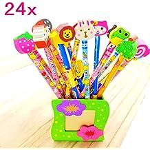 JZK® Set 24 matita in legno con gomma matite grafite colorate con gomme bomboniera regalino per festa bambini compleanno battesimo comunione regalo compleanno regalo Natale per bambina bambino