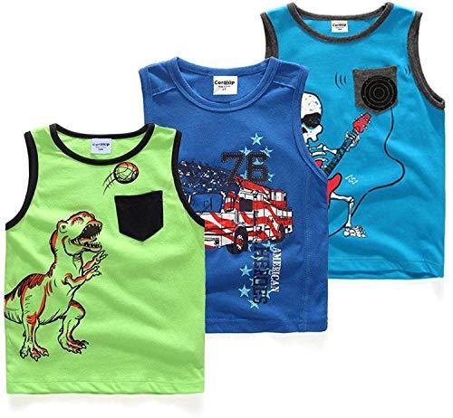 Coralup Set di 3 Top Senza Maniche con Dinosauro 100% Cotone per Bambini dai 12 Mesi ai 5 Anni Colore Azzurro Cielo e Verde e Blu Scuro