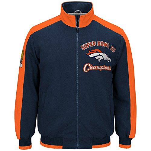 G-III Sports Denver Broncos NFL Herren Super Bowl 50 Champions Gedenk-Fleecejacke, Mädchen Damen Jungen Unisex-Erwachsene Herren, Navy, Small
