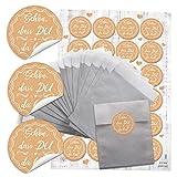24 kleine silberne Papier-Tüten beige weiß creme-farben SCHÖN DASS DU DA BIST 9,5 x 14 cm + 24 runde Aufkleber 4 cm vintage nostalgie shabby Verpackung give-away Hochzeits-Deko Kommunion