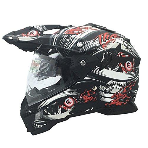 HECHEN Full-Face-Helm, Startete Vier Jahreszeiten Dual-Objektiv-Motorrad-Rennhelm,A,54/56CM