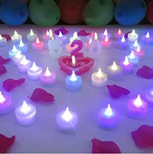 Liroyal 12-Pack Tealight Candle LED White, Color Changing Flame