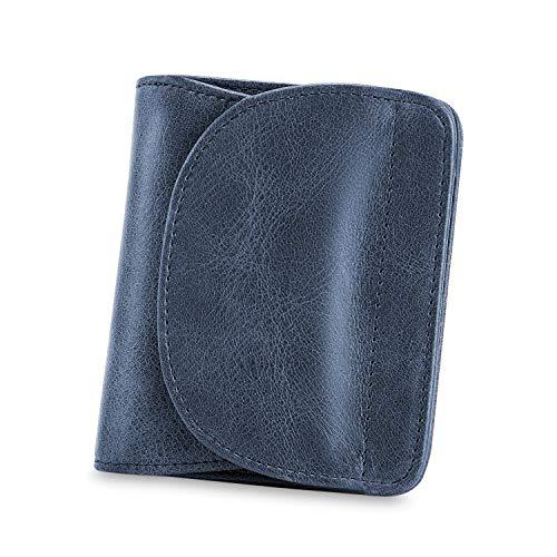 Blaue Mini Geldbörse (Kattee Damen klein Echtes Leder RFID Schutz mit Münzfach Mini Geldbörse Fraun Portmonee Brieftasche Geldbeutel Mädchen)