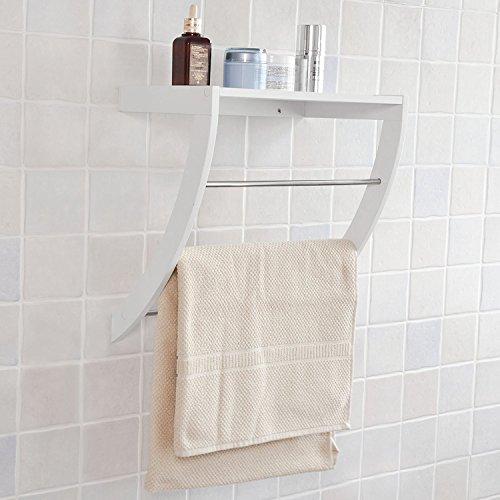 SoBuy® FRG47-W Wandregal in weiß Handtuchregal Handtuchhalter zur Wandmontage mit 3 Stangen BHT: 38 x 25 x 40 cm (Handtuchhalter Weißes Regal)