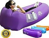 WEKAPO Aufblasbarer Lounger mit Tragebeutel, Sicherungsstock und Pflaschenöffner für Reisen, Camping, Wander, Schwimmbad- und Strandparties. (Lila)