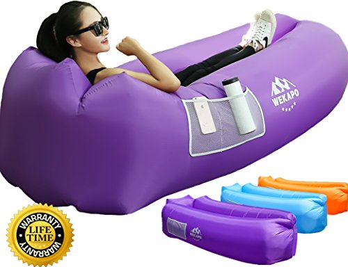 WEKAPO Inflatable Air Lounger, Blow up Sofa Couch, Portable Chair, with Carry Bag, Integrated Pillow, Securing Stake and Bottle Opener for Travelling, Camping, Hiking, Pool Floats, Beach Party, Sleeping, Backyard & Musical Festivals