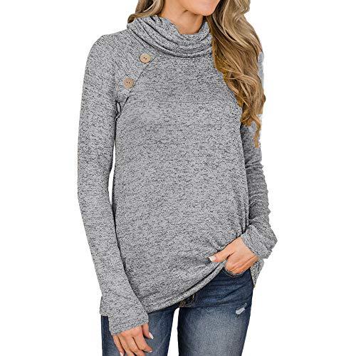 MYMYG Damen Cowl Neck Design Tasten Pullover mit Taschen Solide Sweatshirt Locker gestrickt Tunika Top Langarm T-Shirt Langarmshirt Pulli Shirt Herbst warm Winterpullover