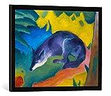 Gerahmtes Bild von Franz Marc Blauschwarzer Fuchs, Kunstdruck im hochwertigen handgefertigten Bilder-Rahmen, 70x50 cm, Schwarz matt