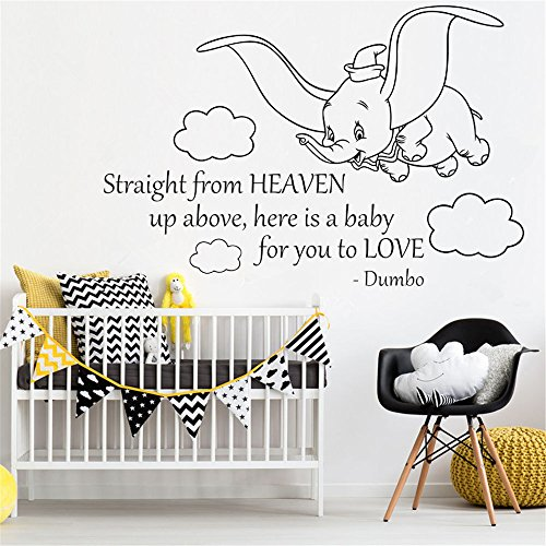 zimmer Wall Sticker Quote Dumbo Quote Wall Stickers Straight From Heaven Art Vinyl Sticker Home Room Kids Bedroom Decor Nursery Poster Cute Elephant für Wohnzimmer Schlafzimmer ()