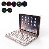 OBOR Aluminiumlegierung iPad Mini Keyboard Case - 7 Farben Hintergrundbeleuchtung Flip Wireless Bluetooth Tastatur Schutzhülle für iPad Mini 2/3 (Roségold)
