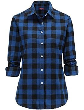 Dioufond Camisas Mujer Cuadros de Manga Larga Camisetas Mujer