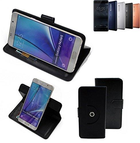 K-S-Trade® Hülle Schutzhülle Case für Nokia 5 Dual-SIM Handyhülle Flipcase Smartphone Cover Handy Schutz Tasche Bookstyle Walletcase schwarz (1x)