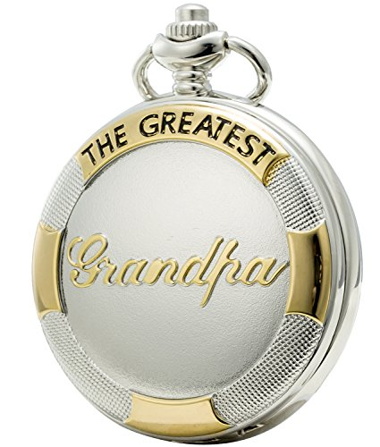 SEWOR Family Gift Beautiful Case Shell Dial Japanese Quartz Pocket Watch with Double Chain (Metal & Leather) (White Grandpa)