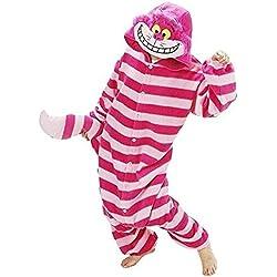 Minetom Animal Carnaval Disfraz Cosplay Pijamas Adultos Unisex Ropa De Noche S/M/L/XL Gato de cheshire L (170-180CM)