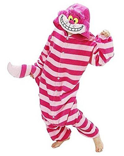Minetom Flanell Karikatur Tier Pyjama Kostüm Für Halloween Karneval Fasching Unisex Erwachsene Schlafanzug Jumpsuit Anime Cosplay Cheshire Katze L(170-180CM) (2 Person Halloween Kostüme)